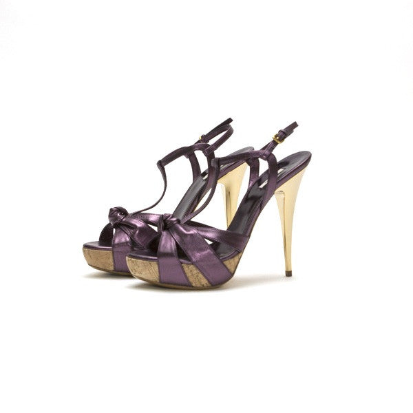 Miu Miu Purple Leather Platform Heel