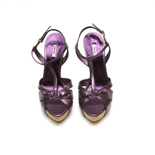 Miu Miu Purple Leather Heel With Peep Toe