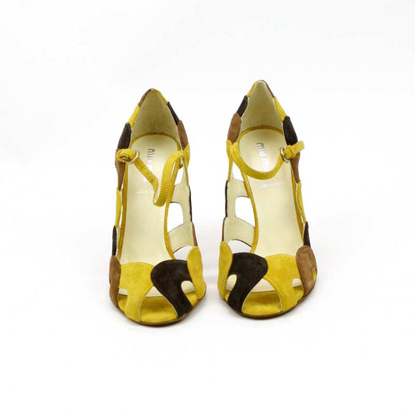 Miu Miu Yellow and Brown Suede High Heels w. Scallped Cutouts Size 7 pre-owned