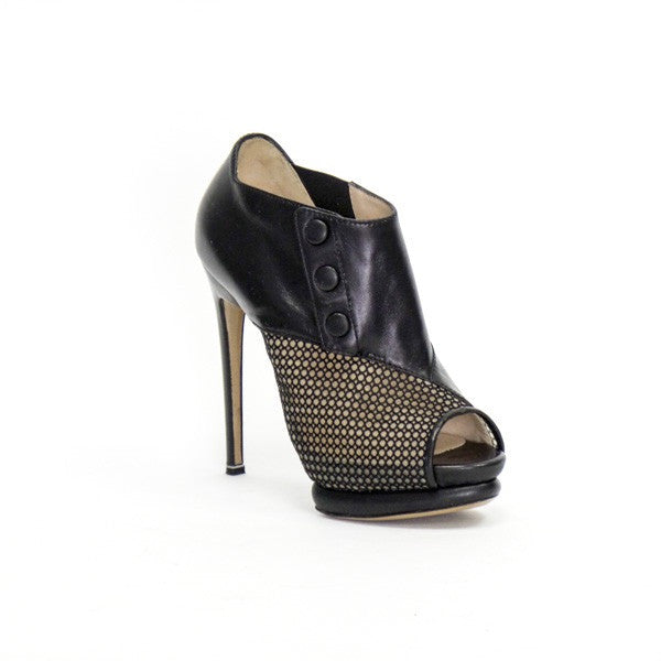 Nicholas Kirkwood Black Leather Mesh Peep Toe Ankle Boots