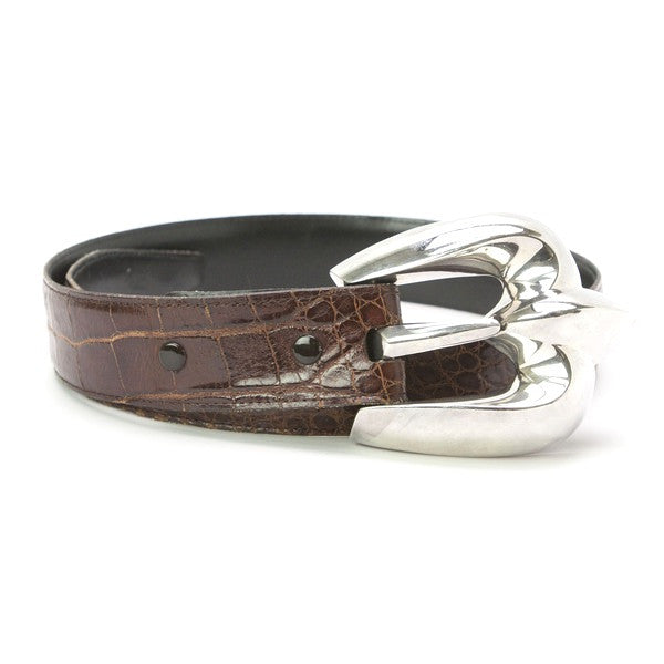 Patricia Von Musulin Brown Leather Alligator Belt