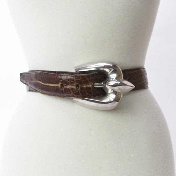 Patricia Von Musulin Brown Leather Alligator Belt With Large Silver Buckle