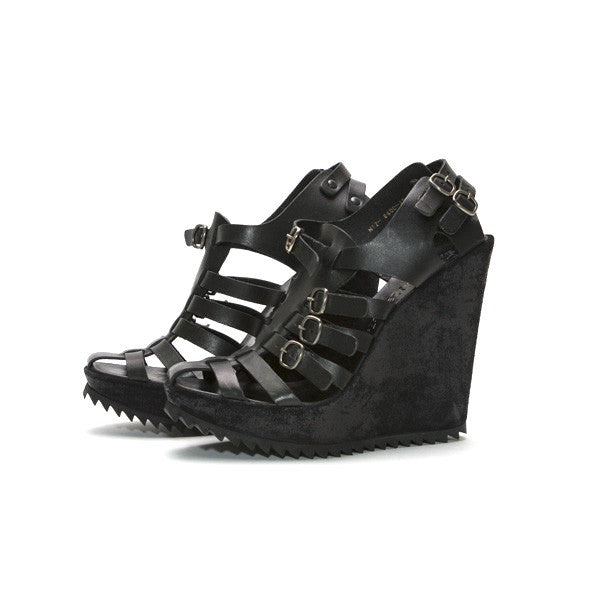 Pedro Garcia Black Leather Wedges with multi straps