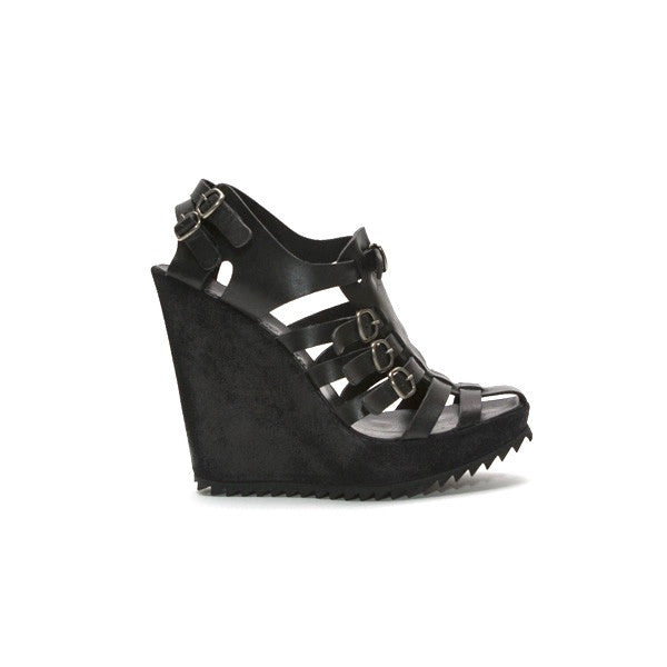 Pedro Garcia Black Leather Wedges