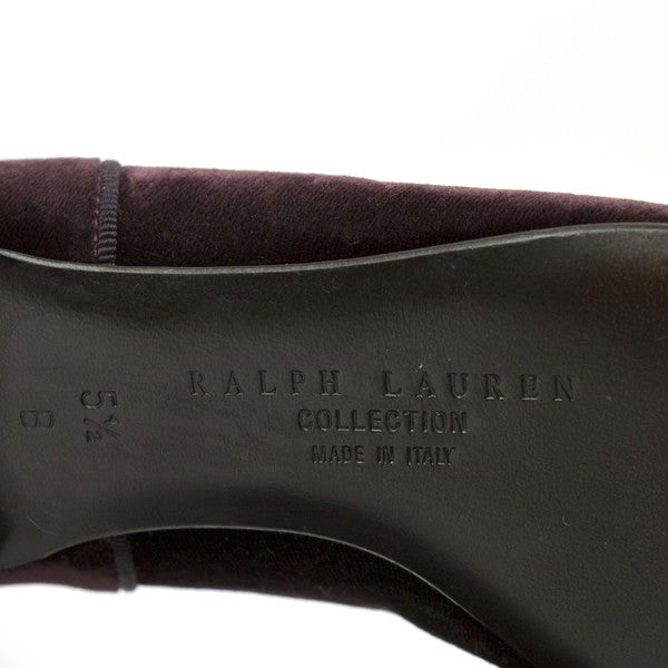 Ralph Lauren Velvet Plum Slide On Shoe Stamped on Soles