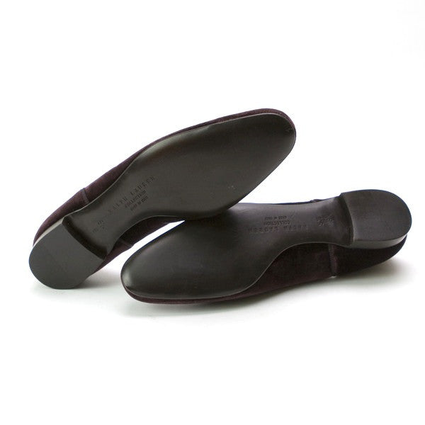 Ralph Lauren Velvet Plum Slide On Shoe With Leather Soles
