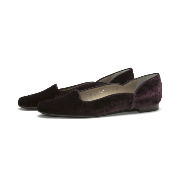 Ralph Lauren Velvet Plum Slide On Flats
