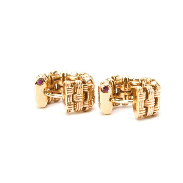 Roberto Coin Rose Gold Earrings With Hidden Ruby