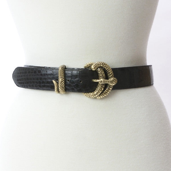 Vintage Black Belt With Adjustable Snake Buckle