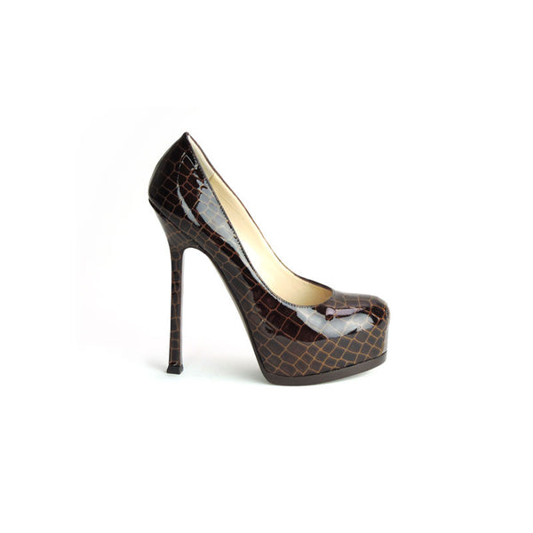 YSL Brown Patent Leather High Heels