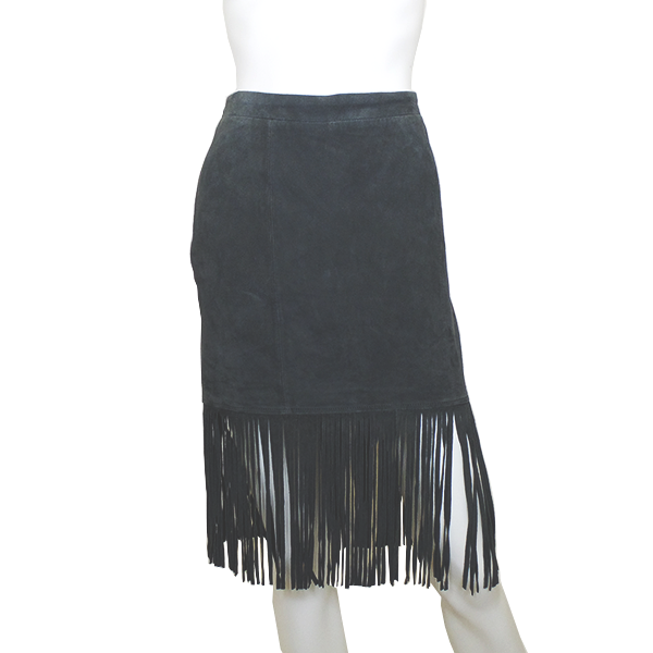 Scoop | Suede Fringe Skirt