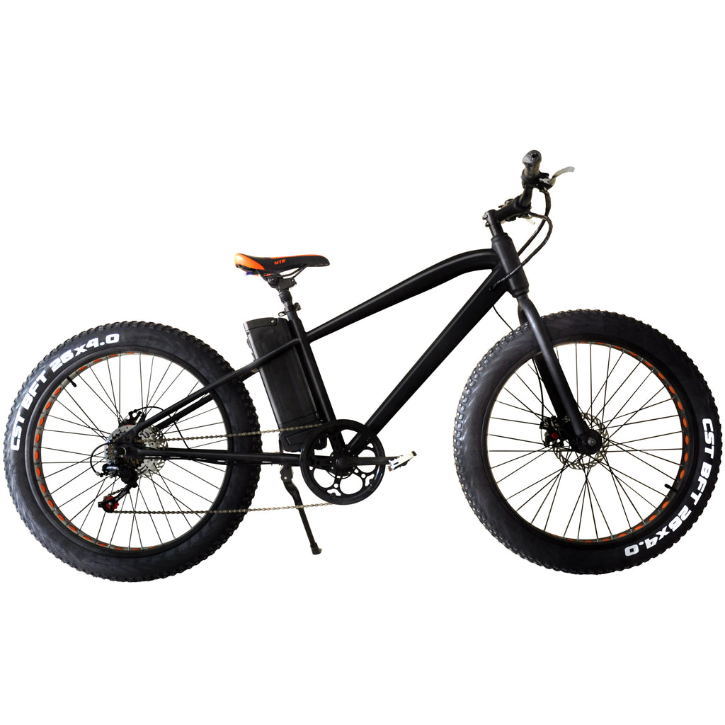 Mountain fat tire e-bike as seen from the right side
