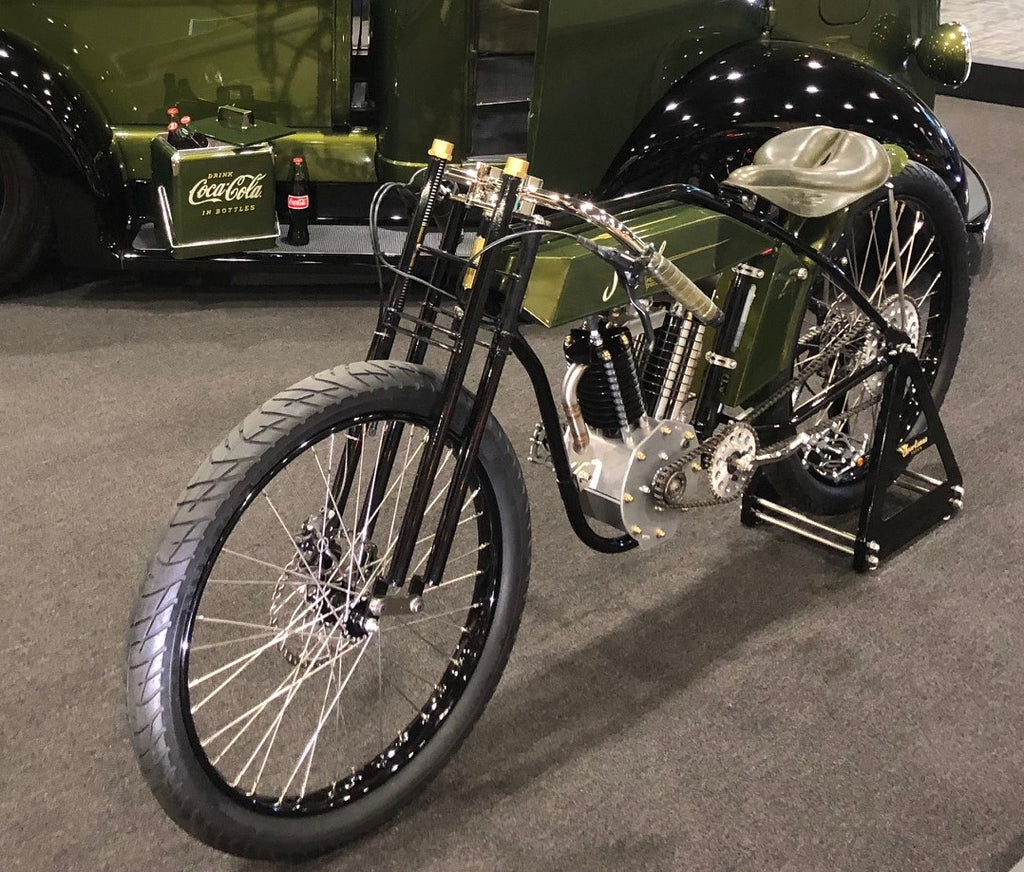 Beautiful Custom Green Electric Indian seen from the front left