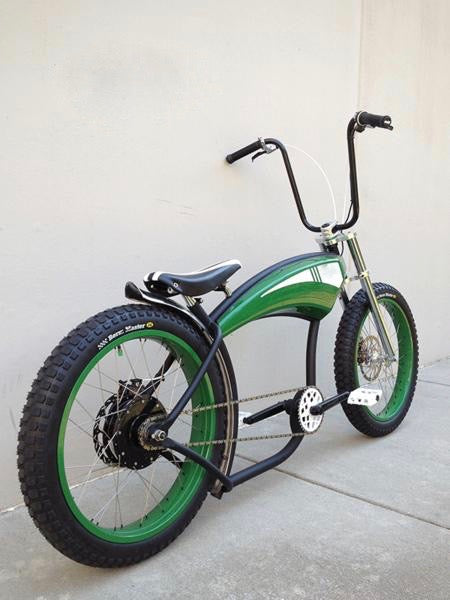 The Green Rod electric bike seen from the right rear