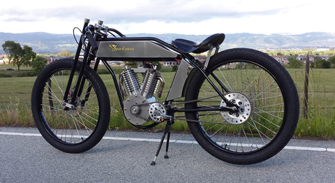 Custom Indian Canyon Electric Flyer seen from rear left