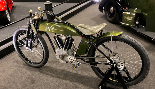 Custom Green Electric Indian seen from left rear