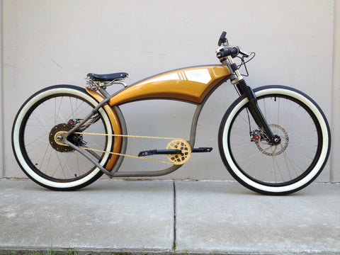 Electric Golden Rod Street Bike 1, seen full on from the right
