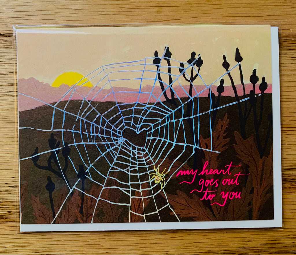 Spider Web Heart - Greeting Card