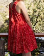 Load image into Gallery viewer, Call Me Marilyn sleeveless cherry red polka dot plunging neckline open back dress - Sahvant