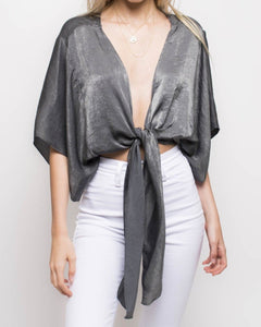 Nights in Havana black silver or champagne open front crop top - Sahvant