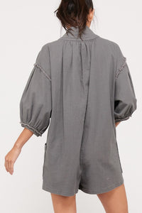 On A Sunday charcoal/gray bubble sleeve romper with eyelet hook closure - Sahvant