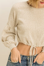 Load image into Gallery viewer, Ex-Girlfriend beige cream long sleeve drawstring cropped sweater - Sahvant