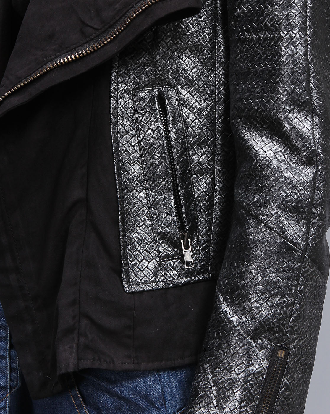 Woo silver/gray faux leather jacket with brocade print and suede lapels - Sahvant