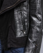 Load image into Gallery viewer, Woo silver/gray faux leather jacket with brocade print and suede lapels - Sahvant