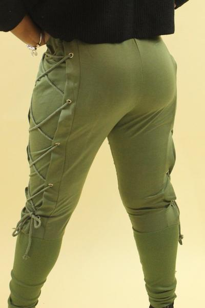 Joe Jogger drawstring leggings in black or green/olive with removable rope detailing - Sahvant