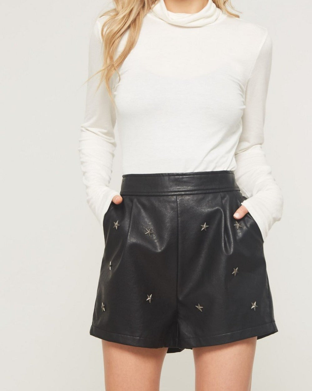 Starstruck black faux leather shorts with star detailing - Sahvant