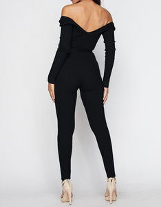 Kiki long sleeve black ribbed off the shoulder knit jumpsuit with removable belt - Sahvant