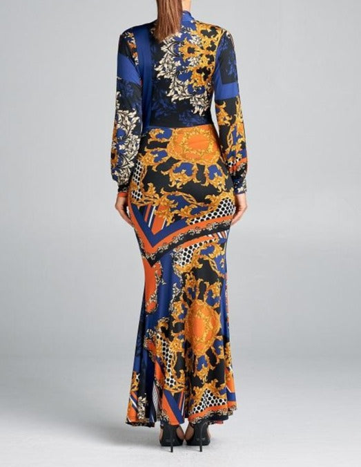 Herra's Return blue gown with shades of orange black white and beige with long open sleeves - Sahvant