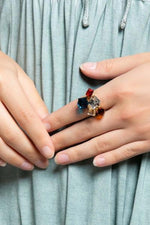 Load image into Gallery viewer, Rock of Love gold plated adjustable ring with multi colored rhinestone crystals - Sahvant