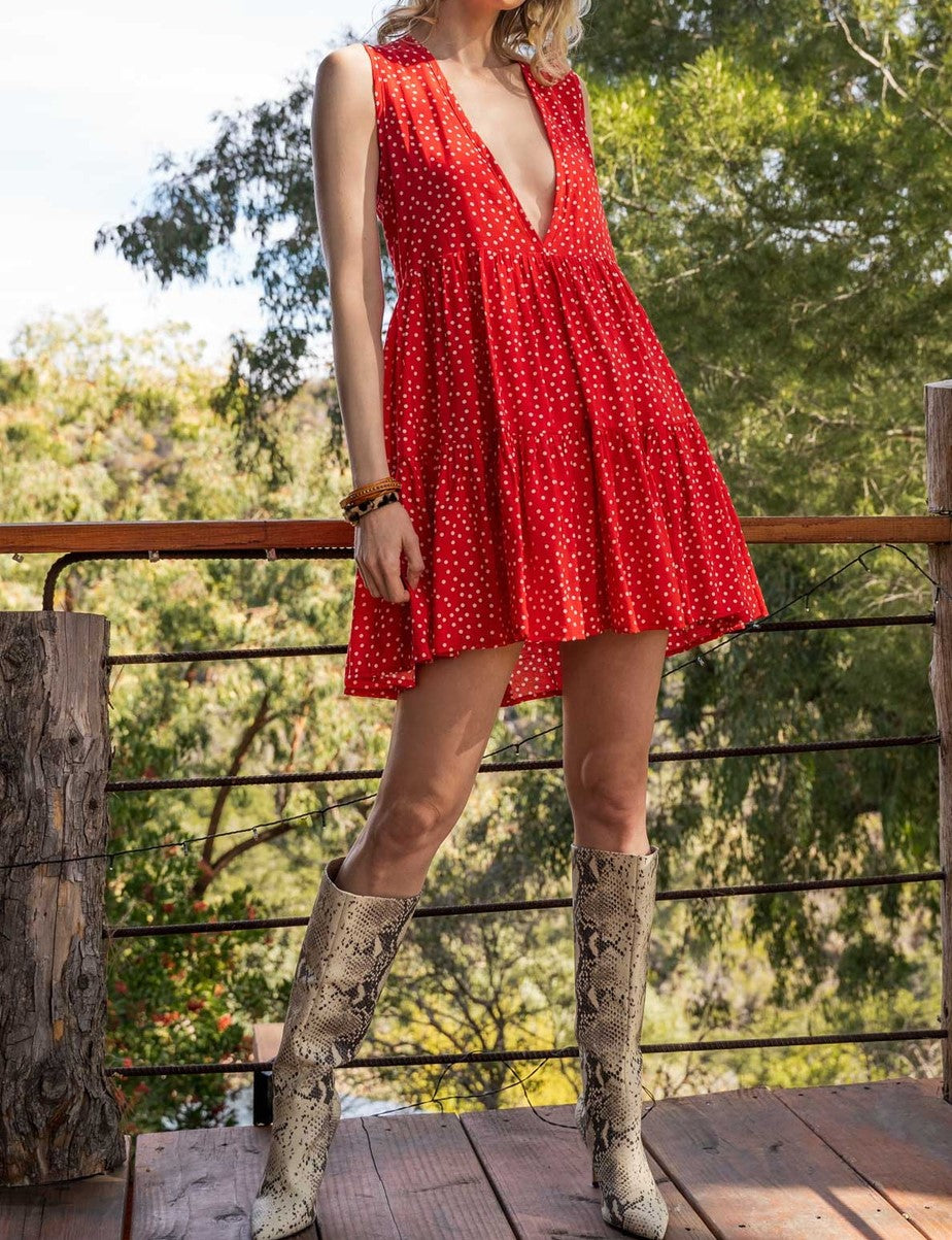Call Me Marilyn sleeveless cherry red polka dot plunging neckline open back dress - Sahvant