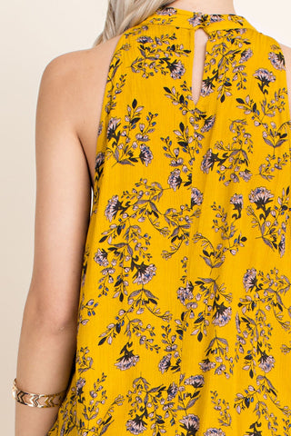 Lovely Day yellow mustard sleeveless halter neck top with neck tie and wild flower print - Sahvant