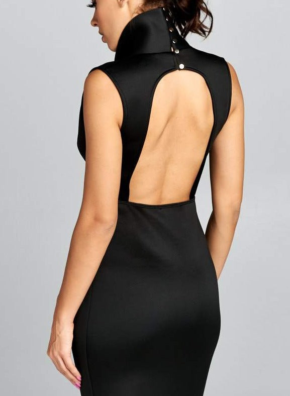 Hell On Heels black midi dress with deep v neckline and exposed back - Sahvant