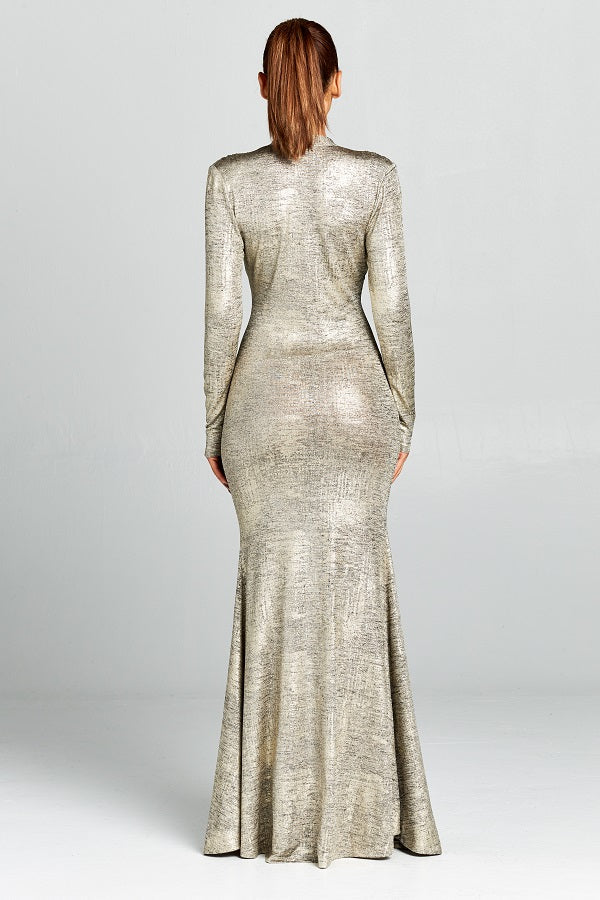 Dynasty gold long sleeve gown with plunging neckline and front split - Sahvant