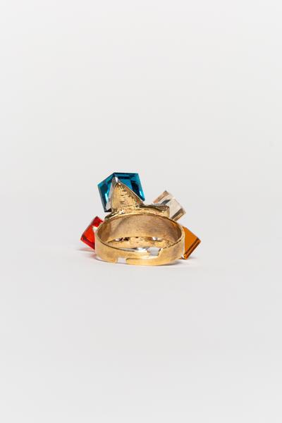 Rock of Love gold plated adjustable ring with multi colored rhinestone crystals - Sahvant