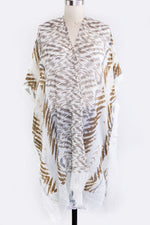 Load image into Gallery viewer, Camilla animal print kimono cover up in shades of cream beige brown - Sahvant
