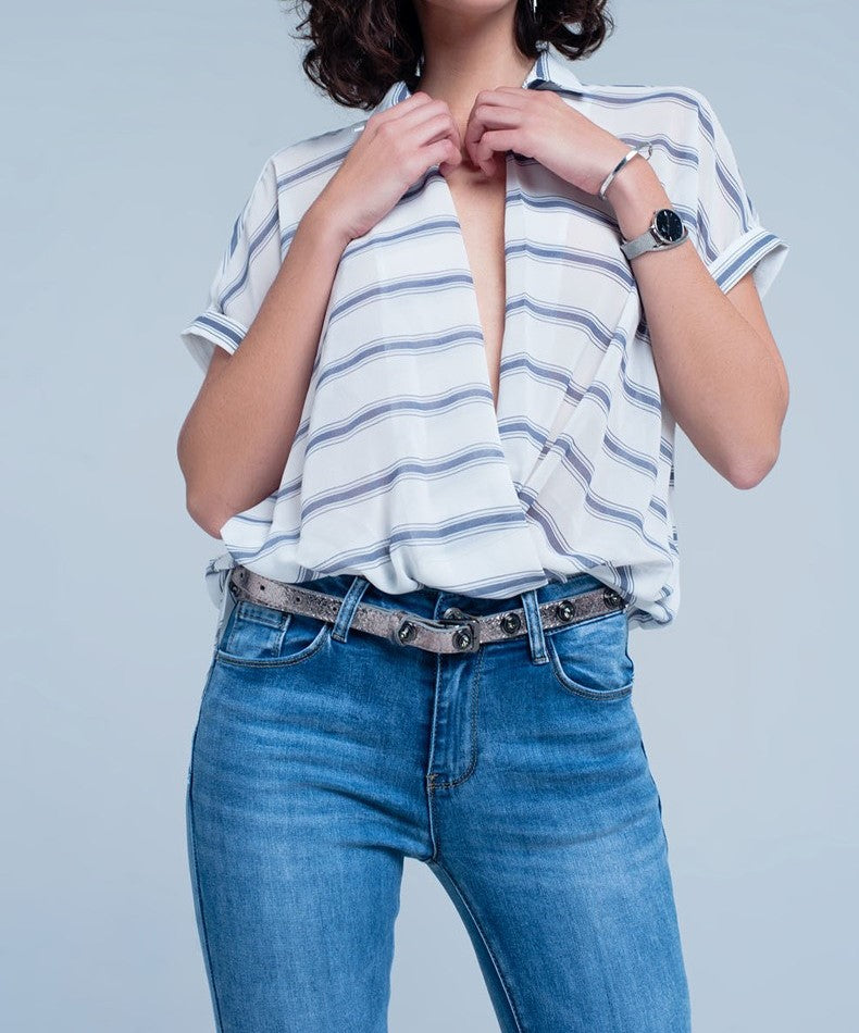Blair sheer white short sleeve top with blue stripes and plunging neckline - Sahvant