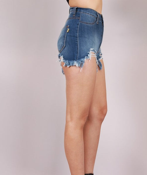 Clutch high waist medium wash denim cutoffs with frayed distressed hem - Sahvant