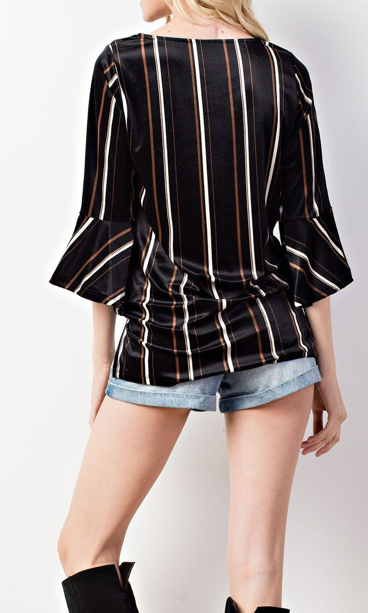 Crush On You striped velvet like  sweater with bell shaped 3/4 sleeves - Sahvant
