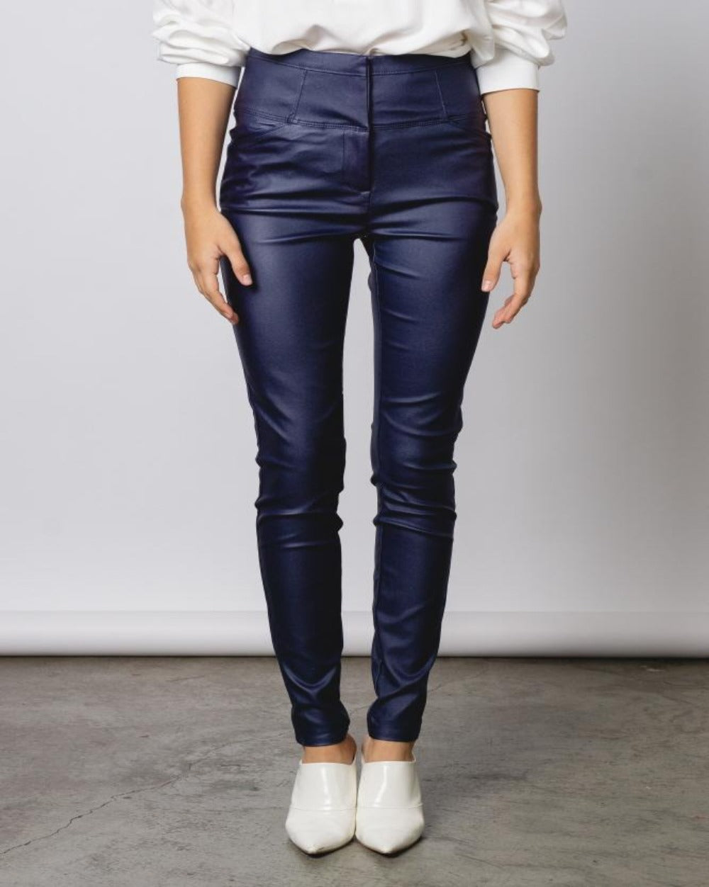 Rockstar Tings navy blue high waist faux leather pants