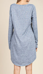 Load image into Gallery viewer, Delia's Moon long sleeve casual knit dress in blue or blush/beige - Sahvant