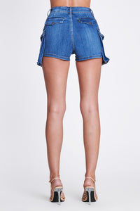 Carry On full coverage denim shorts with cargo pockets - Sahvant