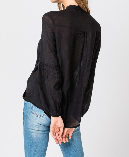 Brooklyn Blouse long sleeve button down black or beige top with twisted hem