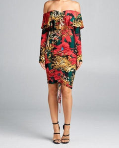 Ooh LaLa floral print off the shoulder long sleeve red green gold dress - Sahvant