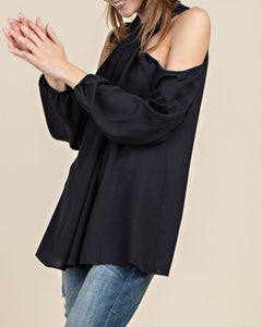 Poise n Ivy black halter neck long sleeve top with exposed shoulders - Sahvant