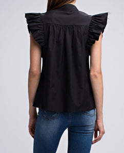 Kruella black button down shirt with structured exaggerated pleated short sleeves - Sahvant