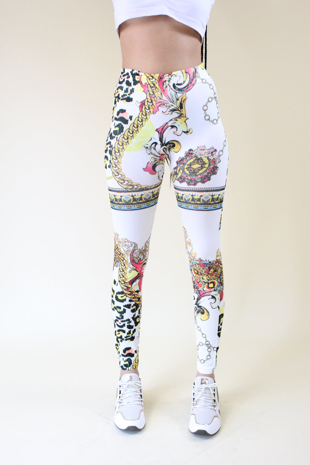 Walk It Out white leopard and gold chain print leggings - Sahvant